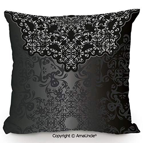 SCOXIXI Decorative Square Throw Pillow Case with Cotton and Linen,Vintage Damask Inspired Ornament Victorian Swirls Curlicues Artistic Decorative,W16xL16 Inches