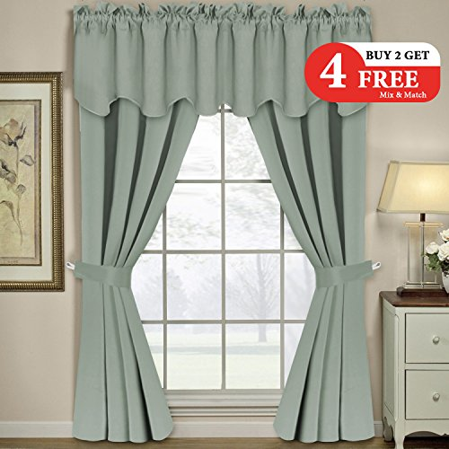 H.VERSAILTEX Thermal Insulated Blackout Grommet Window Curtains Panels Set for Living Room/Bedroom Include 2 Panels of 52 x 96 Inch, 2 Valances, 2 Tie Backs, Solid - Panel Victorian Sage