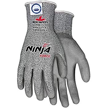 MCR Safety N9677S Ninja Force Polyurethane/Dyneema 13-Gauge Gloves, Gray, Small, 1-Pair