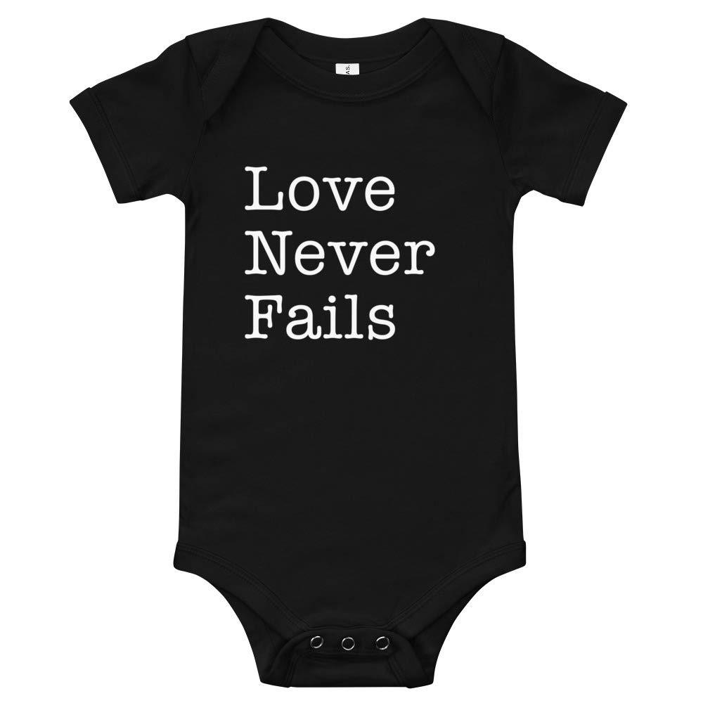 T-Shirt Love Never Fails Onesie Black Newborn Happy Lazy Shade