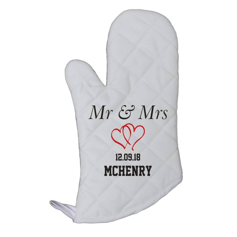 Personalized Custom Text Wedding Mr. & Mrs. Twin Hearts Polyester Oven Mitt