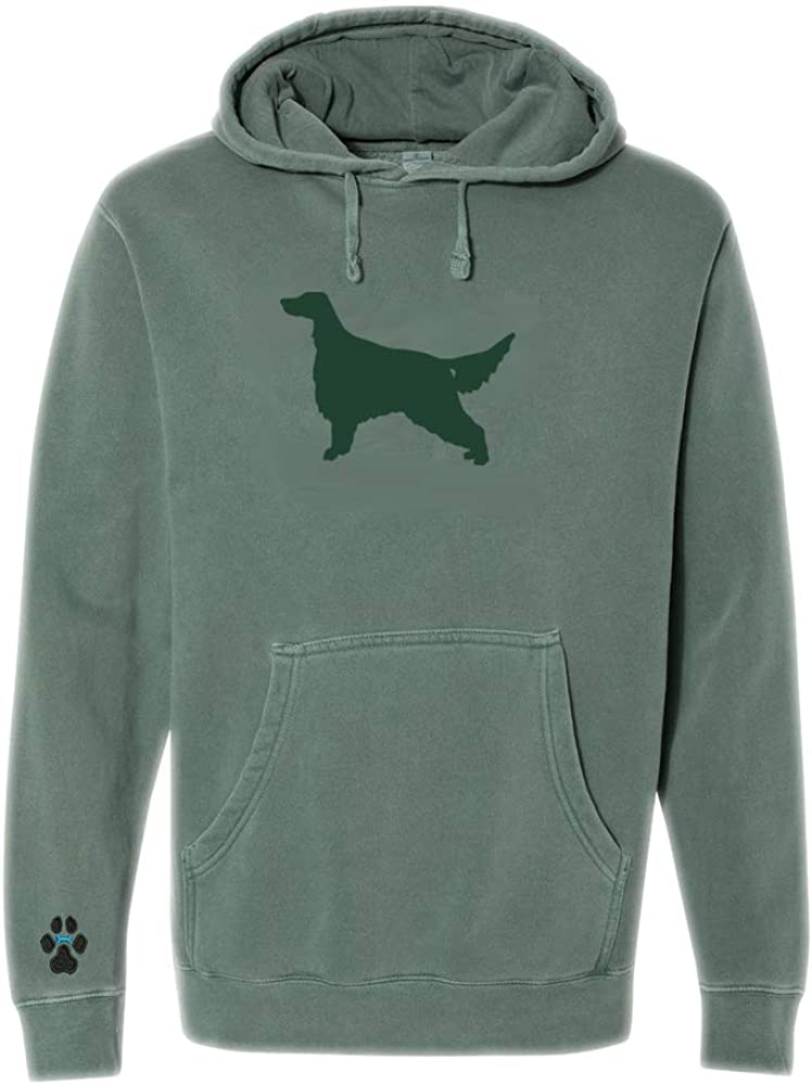 Heavyweight Pigment-Dyed Hooded Sweatshirt with/Irish Red /& White Setter Silhouette