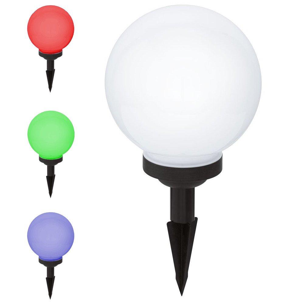 Solar-Kugel mit RGB-LED inkl. Erdspieß, 150 mm | Garten-Kugel/Kugel-Leuchte für Balkon, Garten, Blumenkasten & Blumenbeet | Farbwechsel