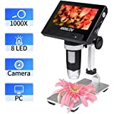 ANNLOV LCD Digital Microscope, 4.3 inch USB Microscope 500X or 1000X Magnification Coin Microscope Camera with 8 Adjustable LED Lights,Support Video Recording and Photo Capture (Black) (Color: Black)
