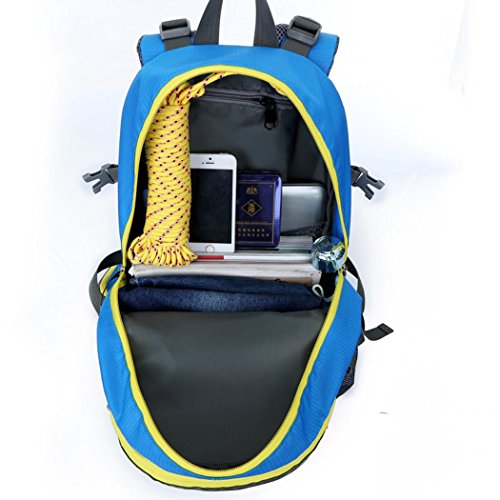 36-55L Escalada Mochila Oxford Impermeable Ligero Mochila de senderismo Camping Riding paquete hombros paquete para hombres y mujeres W30 x H52 x T20 CM , Blue Black