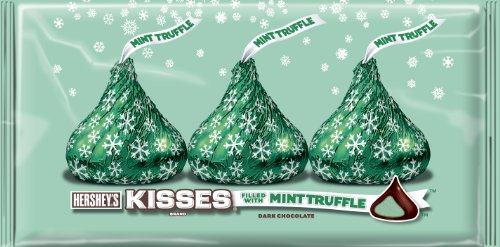 Hershey's Holiday Kisses, Dark Chocolate Filled with Mint Truffle, 8-Ounce