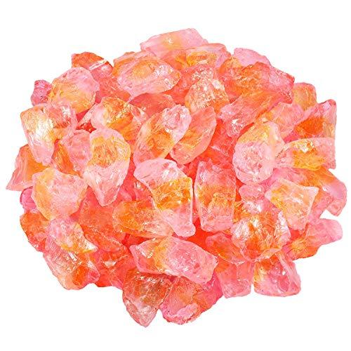 SUNYIK Yellow/Pink Titanium Coated Rough Crystal Point Raw Rock Quartz Cluster Specimen 0.5lb (0.5