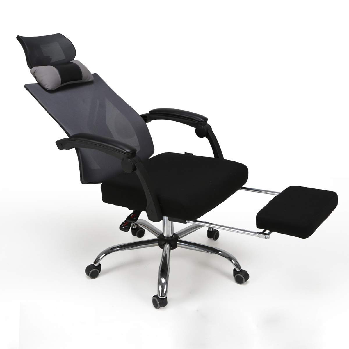 Hbada Ergonomic Office Recliner Chair - High-Back Desk Chair Racing Style with Lumbar Support - Height Adjustable Seat, Headrest- Breathable Mesh Back - Soft Foam Seat Cushion with Footrest, Black by Hbada (Image #2)