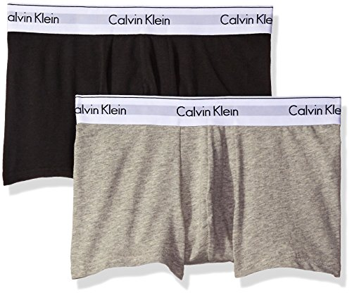 99b33c83eb30 Galleon - Calvin Klein Men's Underwear Modern Cotton Stretch 2 Pack Trunks,  Grey Heather/Black, Medium