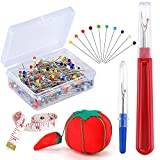 #3: Pllieay 250 Pieces Sewing Pins 38mm Multicolor Glass Ball Head Pins Straight Quilting PinsIncluding Sewing Seam Ripper and Soft Tape Measure for Dressmaking Jewelry Components Flower Decoration