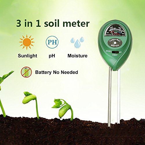 Fanme 3-in-1 Soil Moisture Tester, Soil PH Acidity and Light Meter Plant Management Tester for Garden Farm Lawn Indoor Outdoor Planting with Easy Reading Indicator (No Battery needed) (Round)