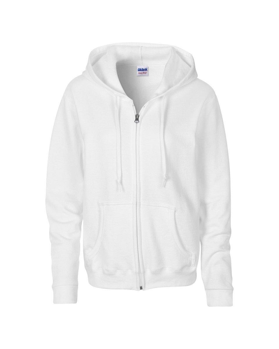 Gildan Women's Blend Full Zip Hooded Pouch Pocket Sweatshirt, White, Large