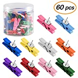 Coopay 60 Pieces Push Pins with Wooden Clips Pushpins Tacks Thumbtacks for Cork Boards Artworks Notes Photos and Craft Projects (Multi-Color)