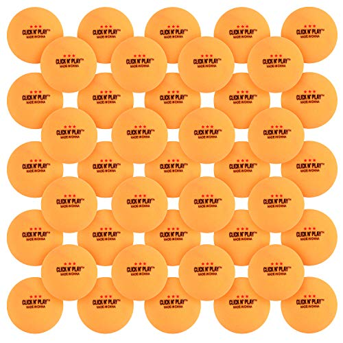 Click N' Play Ping Pong Balls 3-Star Premium Advanced Training Tournament Grade Table Tennis Balls Orange (Pack of 50)