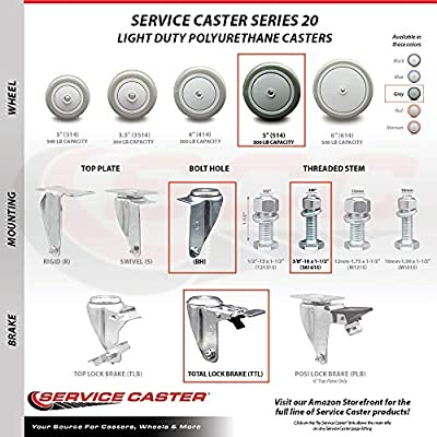 Service Caster Bright Chrome Hooded 2 Inch Swivel Ball Casters with 3//8 Threaded Stems Total Capacity 375 lbs Set of 5
