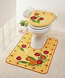 Tortoise Toilet Floor Mat(Long type)TULIP beige & Toilet Lid cover Bathroom TULIP BEIGE