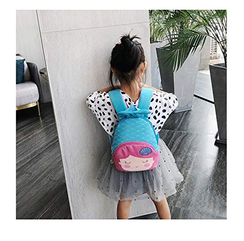 3D Animal Children School Backpack for Girls Mermaid Backpack and Animal Preschool Backpack Childrens for Toddlers (Blue-Pink Hair)