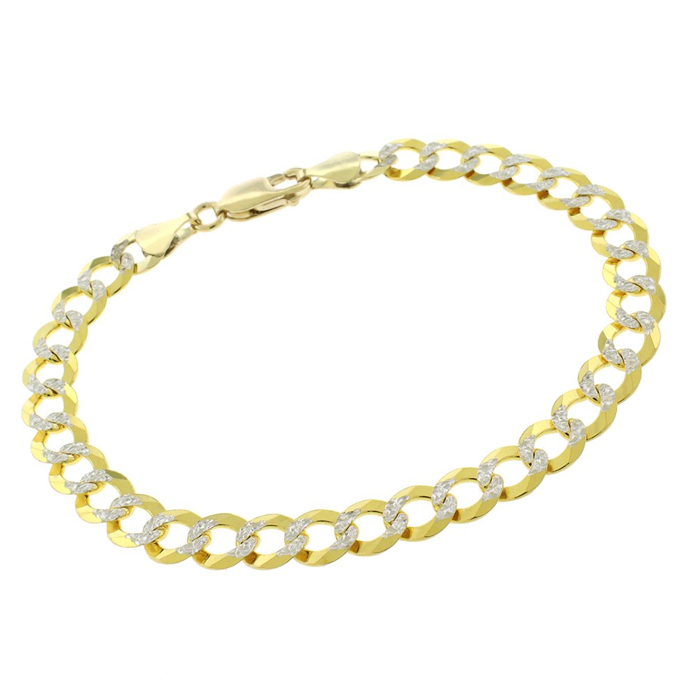 14k Yellow Gold 7mm Solid Cuban Curb Link Diamond Cut Two-Tone Pave Bracelet Chain 8''