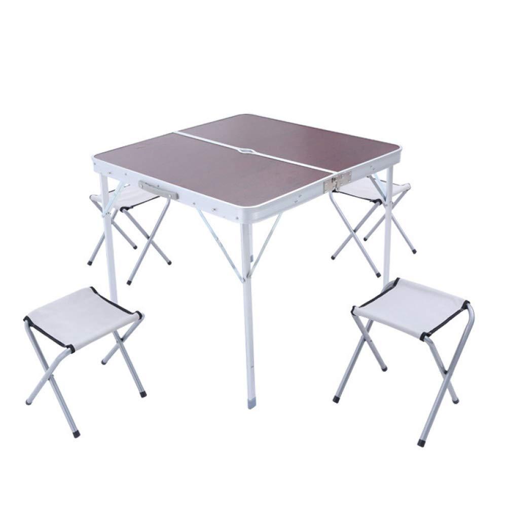 LINGJIE Table De Pique-Nique Pliante pour 4 Personnes avec 4 Chaises Portative Et Légère pour L'extérieur Le Camping Le Pique-Nique Le Barbecue Les Fêtes Et Les Repas  -