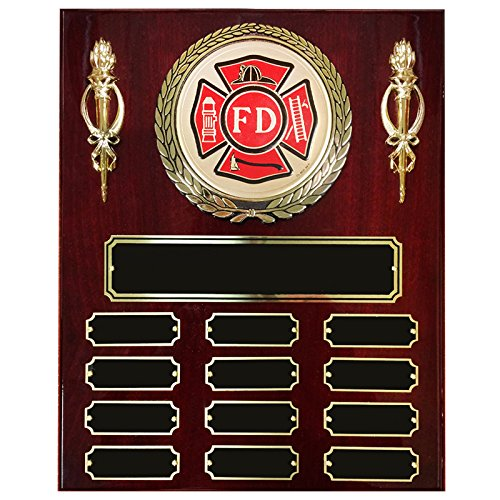 Customizable 13 X 10-1/2 Inch Piano Finish Perpetual Plaque with Fire Department Medallion and Torches, includes Personalization