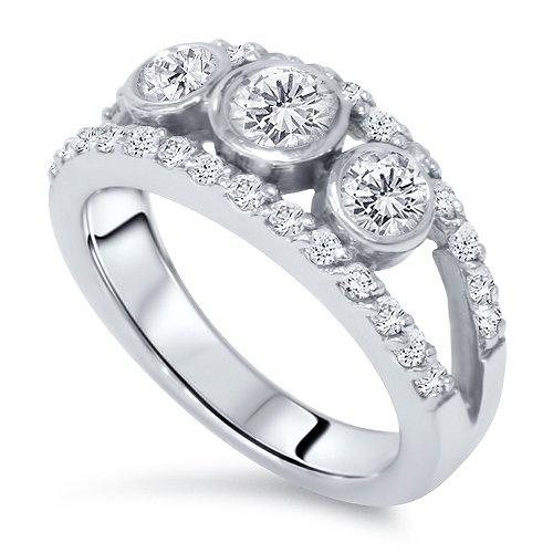 1ct Three Stone Diamond Ring 14k Gold