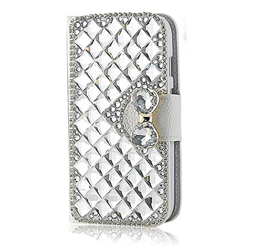 Gorgeous Bling (Galaxy J3 Case, Express Prime Case, Amp Prime Case,Galaxy J3(2016)Case,Gorgeous Desgins Bling Crystal Handmade Wallet PU Leather Case (Silver Crystal))
