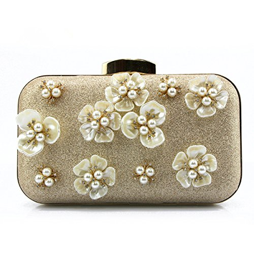 FZHLY Bolso De Hombro Fashion Ladies Flower Dinner Clutch,Black Gold