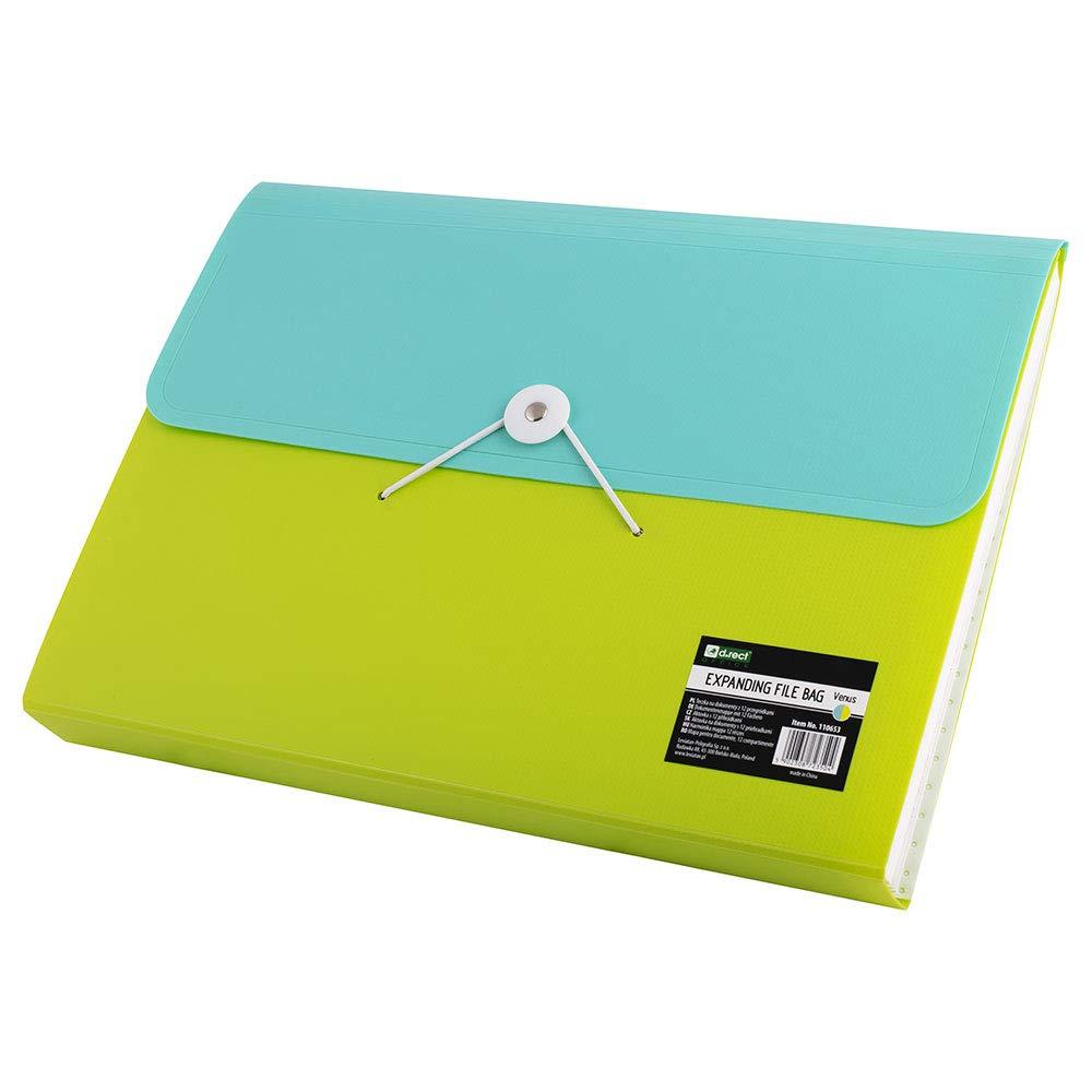 D.RECT Venus F/ächermappe Ordnungsmappe erweiterbar Dokumentenmappen 12 F/ächer A4 Limonenfarben