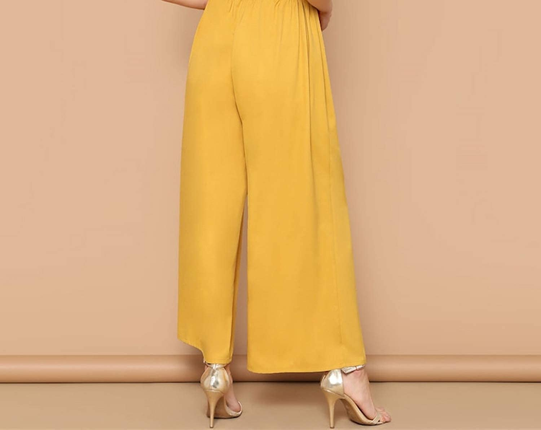 Pretty-Shop Elegant Paperbag Waist Wide Leg Pants Women Spring Bow,