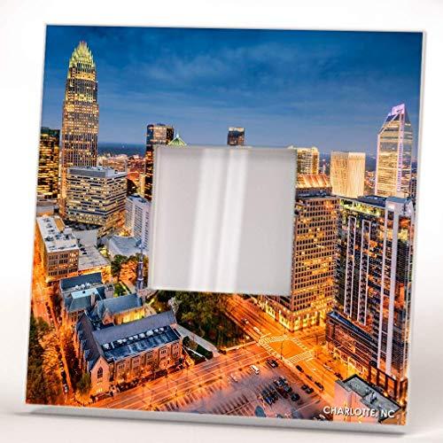 Downtown Charlotte North Carolina Skyline View Wall Framed Mirror Usa Decor Art Home Design Gift (Charlotte Wall Mirrors Nc)