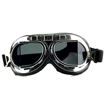 c133eef9bd STLY Vintage Motorcycle Goggles with Antifog and Anticrash Squared Lenses  Black Lens