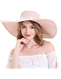 Summer Beach Hats Foldable Wide Brim Solid Caps Bowknot Lady Straw Sun Hat