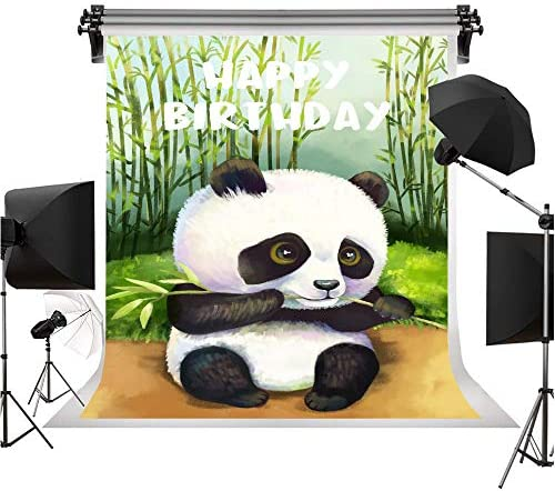 5x5FT Vinyl Photo Backdrops,Panda,Baby Chinese Bears Stroller Photo Background for Photo Booth Studio Props