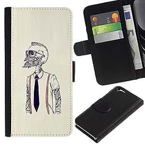 MobileX / Apple Iphone 6 4.7 / Hipster Bearded Skeleton / Cuero PU Delgado caso Billetera cubierta Shell Armor Funda Case Cover Wallet Credit Card