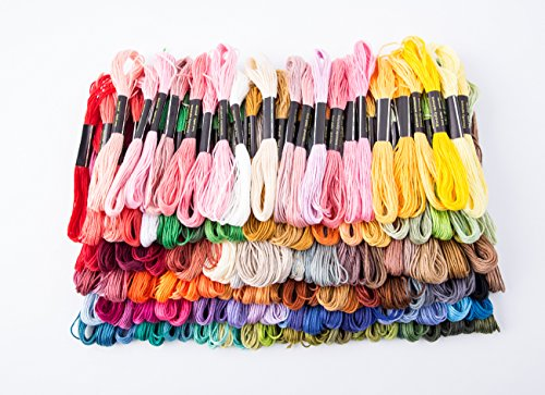Mini Skater 100 Skeins Cotton Cross Stitch Floss Premium Rainbow Color Embroidery Floss Sewing Threads for Bracelets String DIY Craft, 100 Random Color
