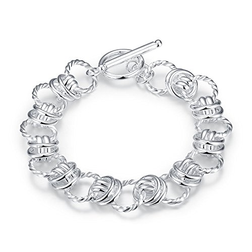 925 Silver Cushion Bracelet - Star Jewelry 20.3cm Cushion Link Chain Bracelet 925 Silver Plated TO Knot Women Bangle