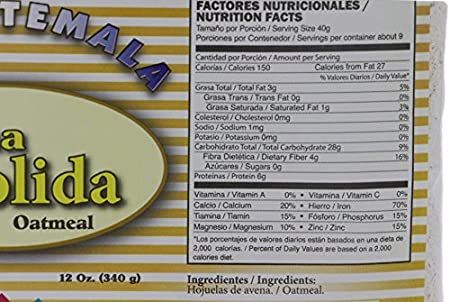 Amazon.com: Mi Guatemala Ground Oatmeal 12oz - Harina de Avena Molida (Pack of 18):