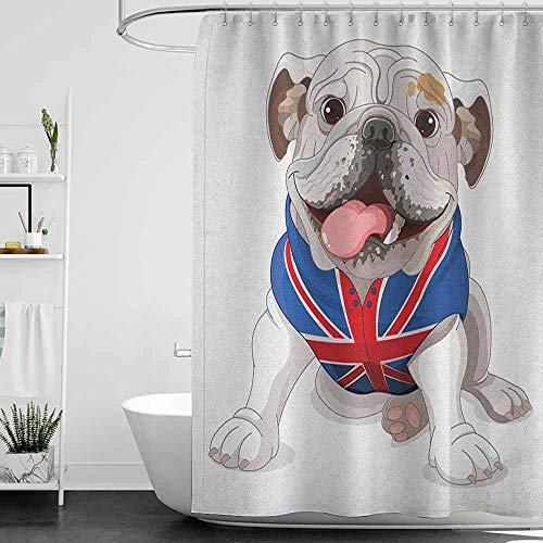 hengshu English Bulldog Waterproof and Colorful Shower Curtain Happy Dog Wearing a Union Jack Vest Cartoon Style Animal Design Polyester Shower Curtain Bath Shower W48 x L72 Inch Cream Navy Blue Red After Six Aries Vest