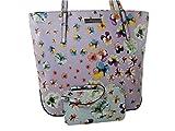 New Nine West Logo Purse XL Shoulder Hand Bag Tote & Wristlet Set 2 Piece Purple Floral