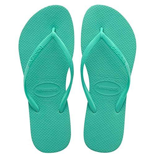 Havaianas Women's Slim Flip Flop Sandal,Mint Green/Mint Green, 41/42 BR(11-12 M US Women's / 9-10 M US Men's) - Green Flip Flops Sandals