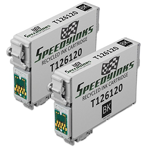 Speedy Inks - 2pk Remanufactured Replacement for Epson T126 T126120 T1261 High Capacity Black Pigment Based Ink Cartridge for use in 520, 630, 633, 635, 60, 840, Epson Stylus NX430, 435, 545, 645 Pigment Black Replacement