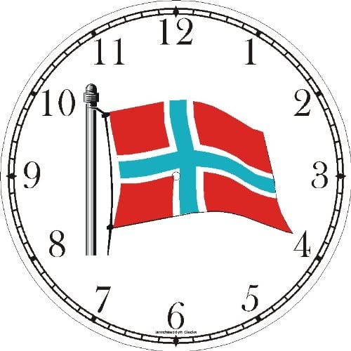 Flag of Norway No.2 – Norwegian Theme Wall Clock by WatchBuddy Timepieces Black Frame
