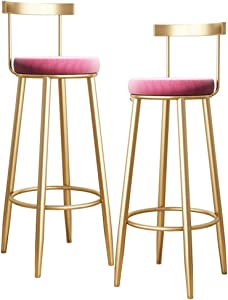 Modern Furniture Barstools High Stool Wrought Iron Bar Stool with Backrest Gold Metal Leg Pink Velvet Cushion, Kitchen Dining Room Breakfast Chair - Set of 2