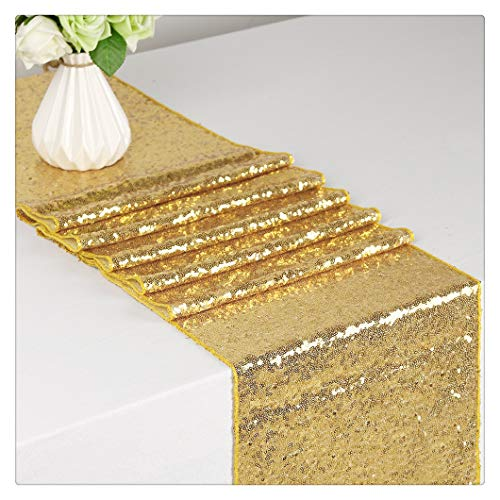 SoarDream 12x72 inch Gold Sequin Tablecloth Shiny Wedding Table Cloth