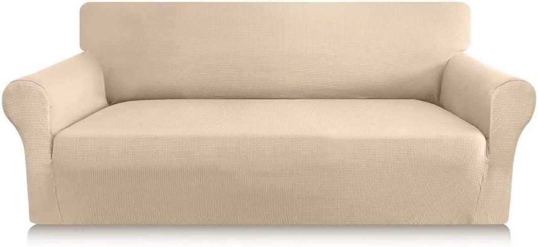 Carltina Stylish Waffle Couch Cover for 3 Cushion Couch High Stretch Jacquard Sofa Cover Thickened Sofa Slipcover Furniture Protector with Elastic Bottom(Large, Beige)