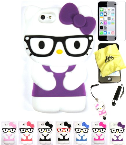 Bukit Cell Hello Kitty Case: PURPLE 3D Hello Kitty ( with Glasses )Silicone Case for IPHONE 5C + BUKIT CELL Cloth + Hello Kitty Stylus Touch Pen + Screen Protector + METALLIC Stylus Touch Pen