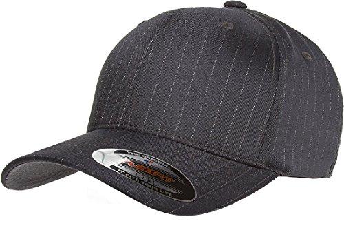 Original Flexfit Pinstripe Hat Baseball Blank Cap Fitted Flex Fit 6195P Small / Medium - Dark Grey / White