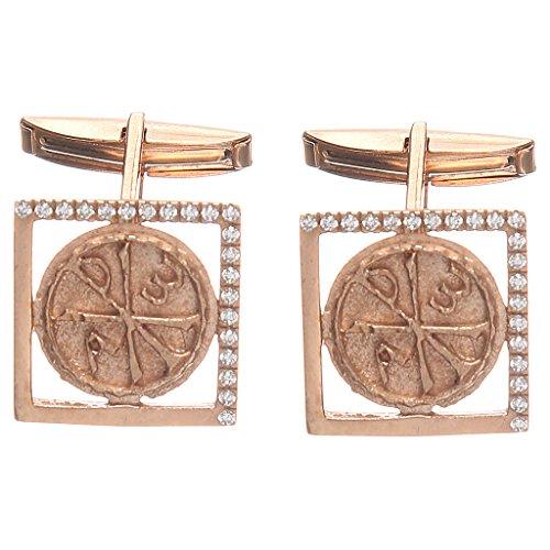 Cufflinks Silver Symbol (Holyart Cufflinks Silver 800 rosé, Pax Symbol 1,7x1,7cm)