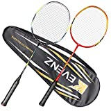 KEVENZ 2-Pack Badminton Rackets, Professional Carbon Fiber Badminton Racquets, Fabric Carrying Bag All Included - Red and Black Badminton Racket