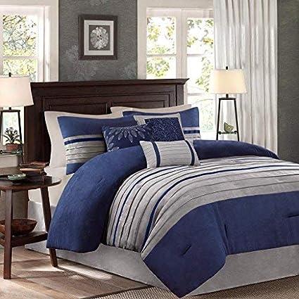 Amazoncom Madison Park Palmer 7 Piece Comforter Set Navy Blue